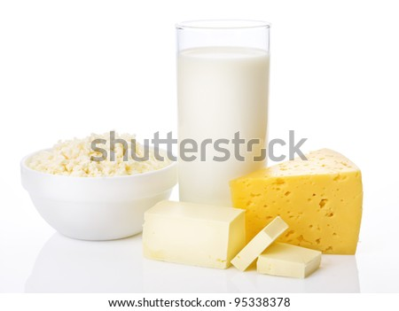 Fresh dairy products on white background - stock photo