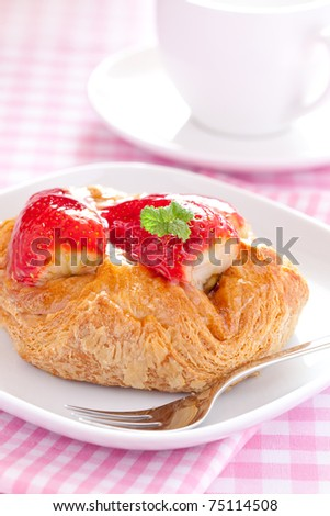 fresh danish pastry with strawberries