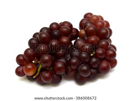 fresh dark grapes fruits Isolated on white background - stock photo