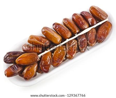 fresh dates fruits isolated - stock photo