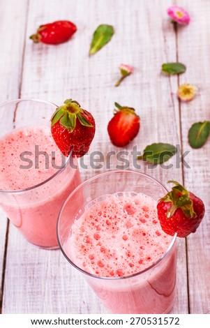 fresh delicious strawberry smoothie - stock photo