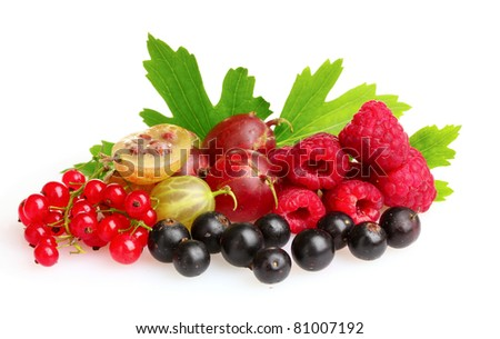 Fresh delicious summer berries isolated on white - stock photo
