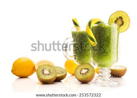 Fresh dessert kiwi cocktail isolated on white background - stock photo