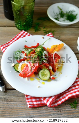 Fresh diet salad with onions and peppers, top view - stock photo