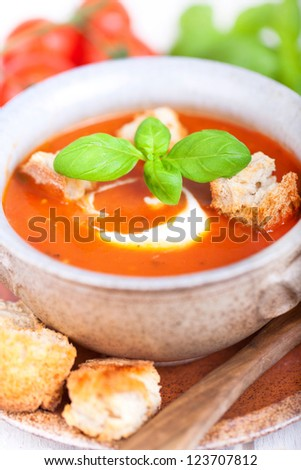 fresh diet tomato soup with basil thyme and raw tomatoes with bread ...