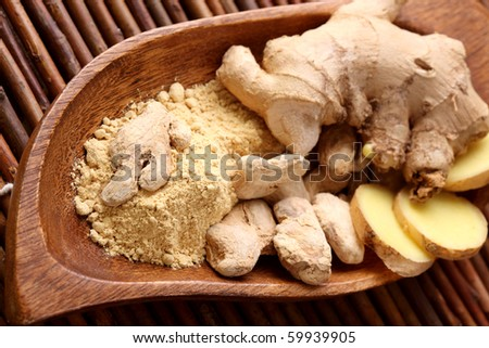 Fresh, dried and powdered ginger - stock photo