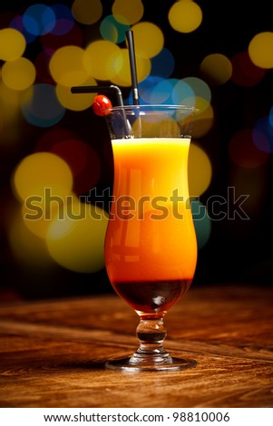 Fresh drink coctail on a color background blur bokeh - stock photo