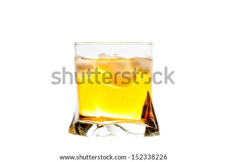 fresh drink with ice on white background