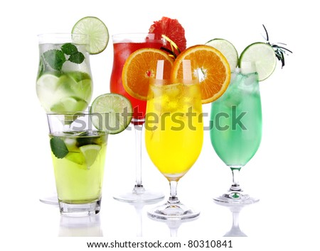 Fresh drinks collection on white background - stock photo