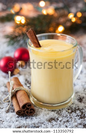 fresh eggnog with cinnamon for christmas - stock photo
