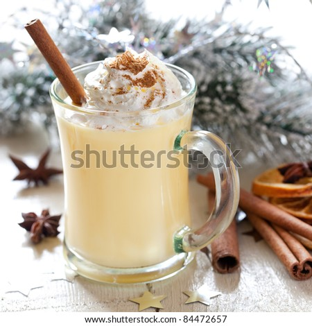 fresh eggnog with whipped cream - stock photo