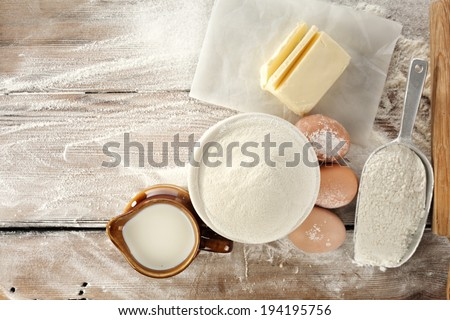 fresh eggs flour and pasta  - stock photo