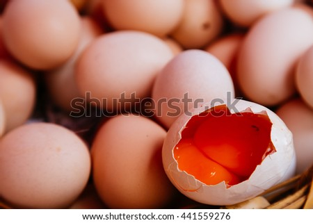 Fresh eggs in a basket as background. Toned image - stock photo