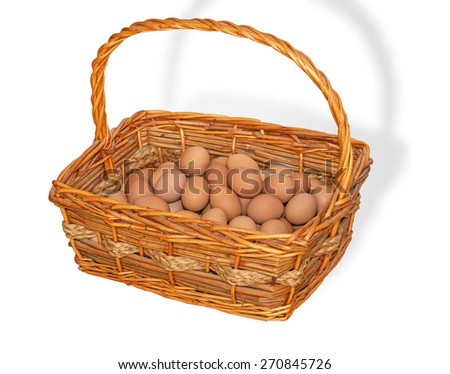 Fresh Eggs in the Basket on White background ,Whit Clipping Path - stock photo