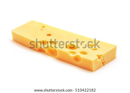 fresh emmentaler cheese block isolated