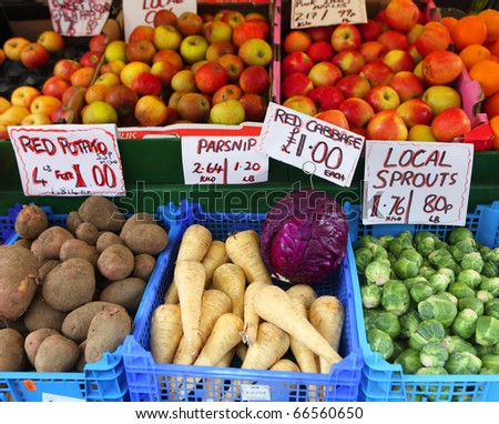 Fresh English fruit and vegetables on a market stall in Great Yarmouth, Norfolk.