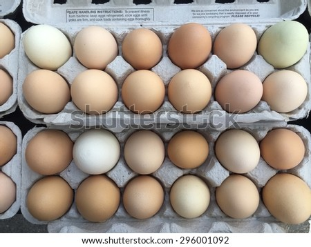 Fresh Farm Eggs at the Farmer's Market - stock photo