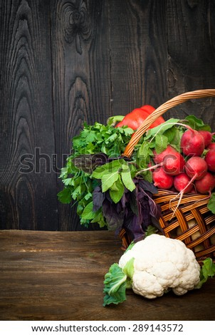 Fresh farmer vegetables and greens in the basket