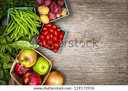 Fresh farmers market fruit and vegetable from above with copy space - stock photo