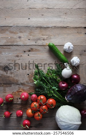 Fresh farmers market vegetable from above with copy space - stock photo