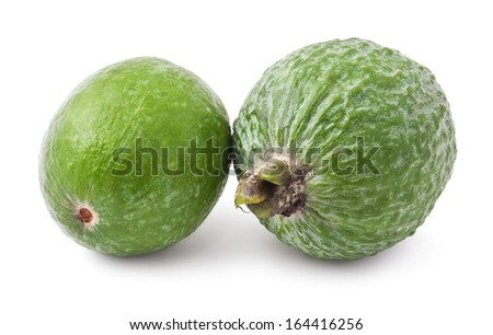 Fresh feijoa (acca sellowiana) isolated on white background