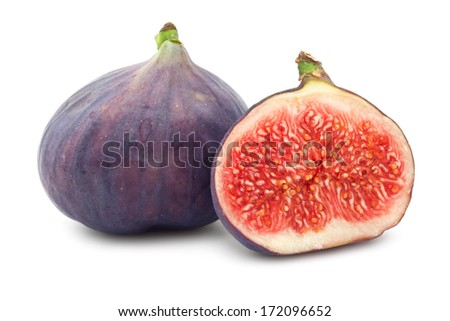 Fresh fig fruits isolated on white background - stock photo