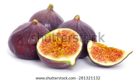 fresh figs isolated on white background - stock photo