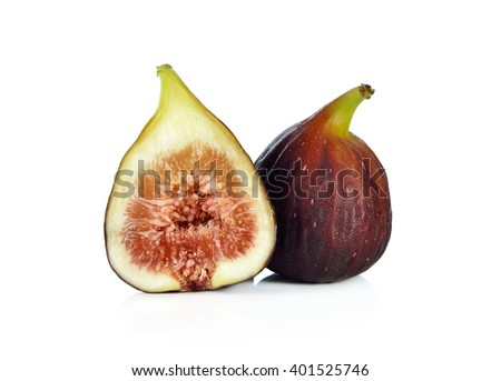Fresh figs isolated on white background. - stock photo