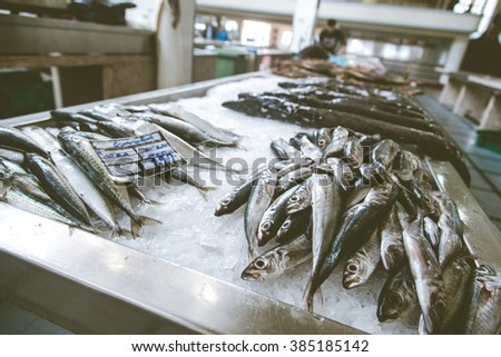 Fresh fish on ice. Fish market on Madeira island - stock photo