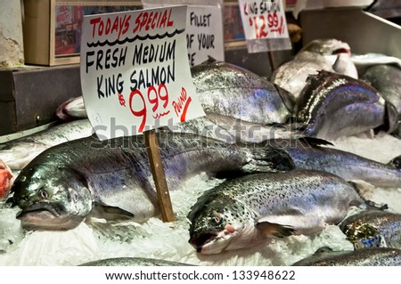 Fresh Fish on ice for sale at market - stock photo