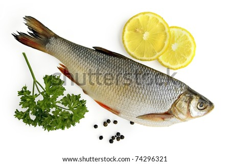 Fresh fish, two slices of lemon, a sprig of parsley, black pepper isolated on white background