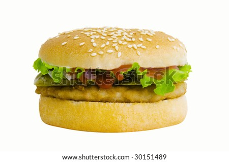Fresh Fishburger with salad, ketchup and pickles on a white background - stock photo