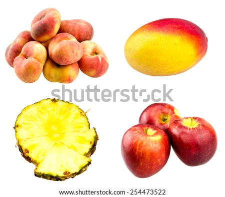 Fresh flat peaches, red apples, whole Mango fruit and Pineapple juicy slices set  isolated on white background . - stock photo
