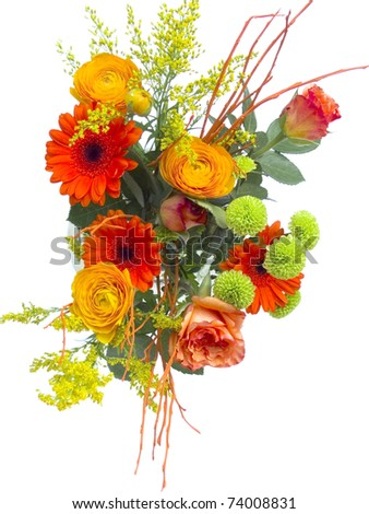 fresh flower bouquet isolated on white background - stock photo