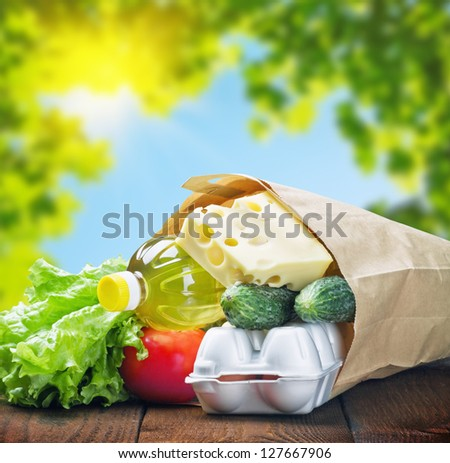 fresh food in a paper bag on a background of nature - stock photo