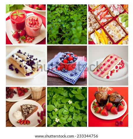 Fresh food prepared at home. Home- made pancakes, milkshakes, muffins, waffles, gingerbread, and cookies..Mosaic of photographs of food. Postcard. Fresh fruits and natural ingredients. - stock photo