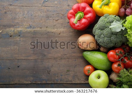 fresh food rustic background, vegetables - stock photo