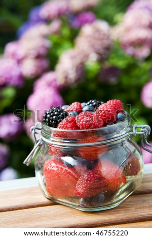 fresh forest fruit in glass pot outdoor - stock photo