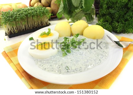 fresh Frankfurt green sauce with seven herbs - stock photo