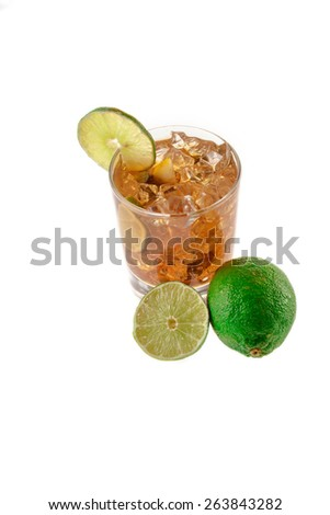 Fresh Fresh cocktail with cola drink and lime fruit on white background - stock photo