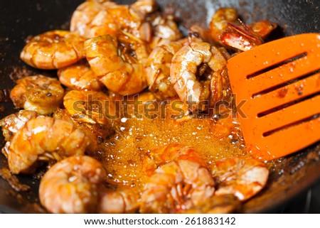 fresh fried shrimps - stock photo