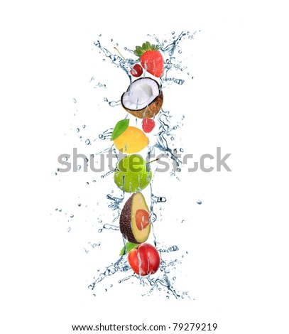 Fresh fruit alphabet letter - stock photo