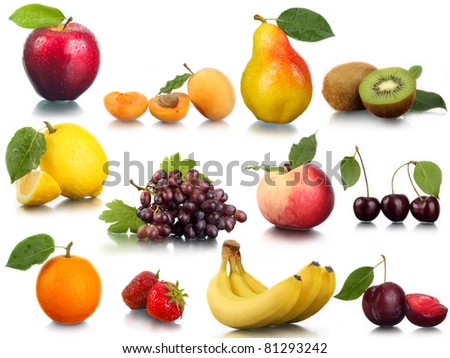 Fresh fruit and berries. - stock photo