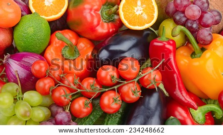 fresh fruit and vegetable background - stock photo