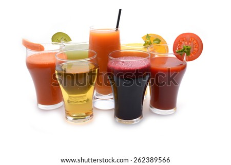 Fresh fruit and vegetable juices  - stock photo