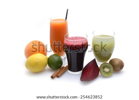 Fresh fruit and vegetable juices on white background - stock photo