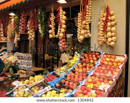 Fresh fruit and vegetables. - stock photo