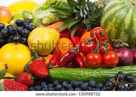 Fresh fruit and vegetables - stock photo