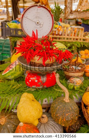 Fresh fruit and vegetables on market - stock photo