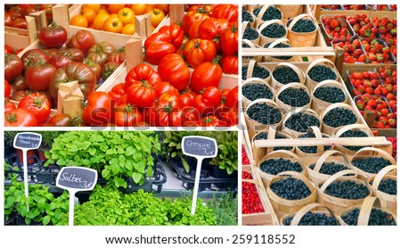 fresh fruit and vegetables on sale at the farmers market - stock photo